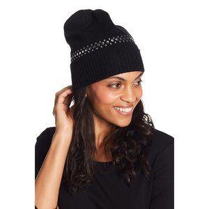 Michael Kors Derby Studded Knit Beanie Hat Black